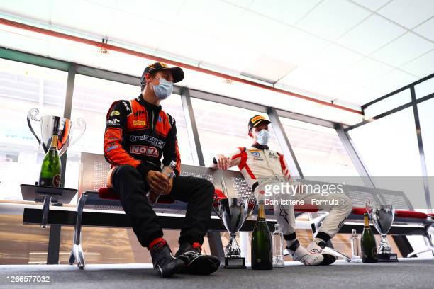 Race winner Felipe Drugovich of Brazil and MP Motorsport and second placed Luca Ghiotto of Italy and Hitech Grand Prix talk after the sprint race of...