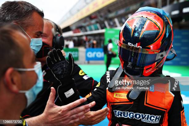 Race winner Felipe Drugovich of Brazil and MP Motorsport celebrates in parc ferme during the sprint race of the Formula 2 Championship at Circuit de...