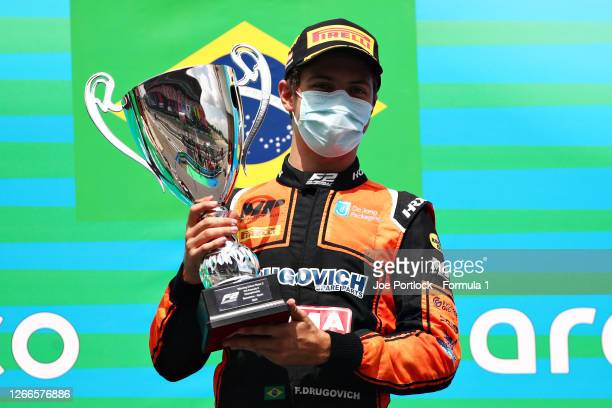 Race winner Felipe Drugovich of Brazil and MP Motorsport celebrates on the podium during the sprint race of the Formula 2 Championship at Circuit de...