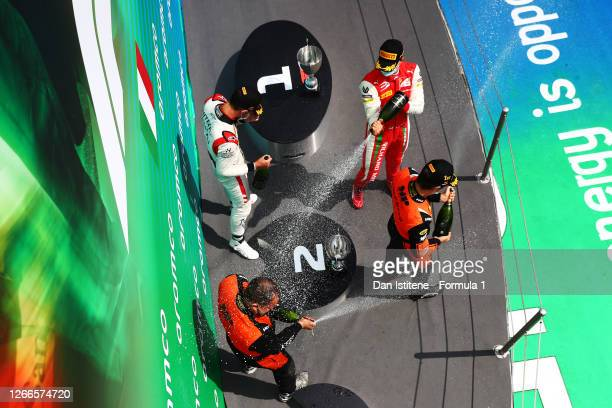 Race winner Felipe Drugovich of Brazil and MP Motorsport, second placed Luca Ghiotto of Italy and Hitech Grand Prix and third placed Mick Schumacher...