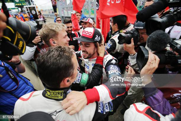Race winner Fernando Alonso of Spain and Toyota Gazoo Racing celebrates in parc ferme at the Le Mans 24 Hour race on June 17 2018 in Le Mans France