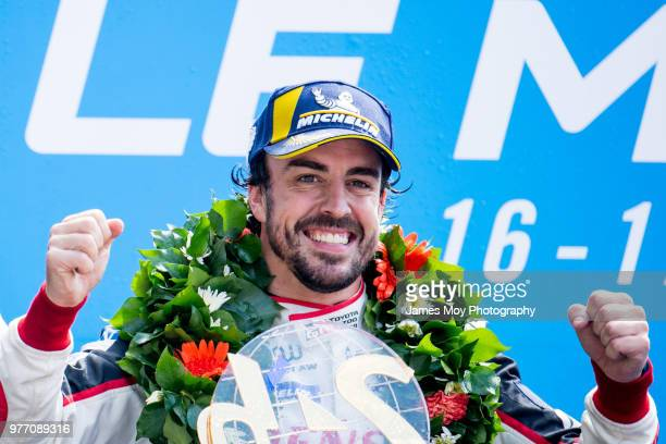 Race winner Fernando Alonso of Spain and Toyota Gazoo Racing celebrates on the podium at the Le Mans 24 Hour race on June 17 2018 in Le Mans France