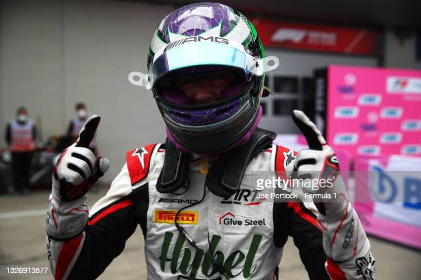 Race winner Frederik Vesti of Denmark and ART Grand Prix celebrates in parc ferme during race 3 of Round 3:Spielberg of the Formula 3 Championship at...