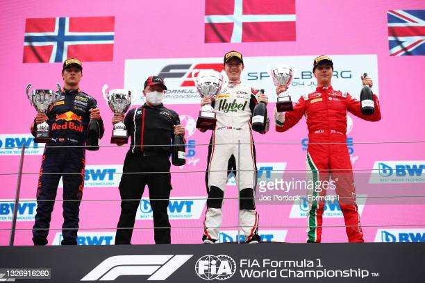 Race winner Frederik Vesti of Denmark and ART Grand Prix, second placed Dennis Hauger of Norway and Prema Racing and third placed Olli Caldwell of...