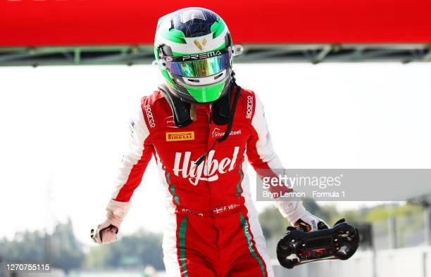 Race winner Frederik Vesti of Denmark and Prema Racing celebrates in parc ferme during race one of the Formula 3 Championship at Autodromo di Monza...