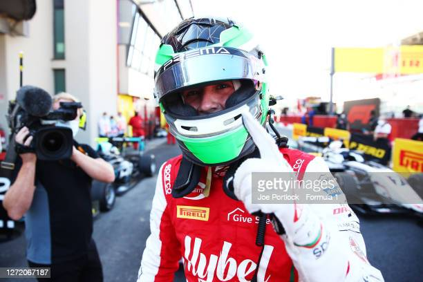 Race winner Frederik Vesti of Denmark and Prema Racing celebrates in parc ferme during the Formula 3 Championship First Race at Mugello Circuit on...