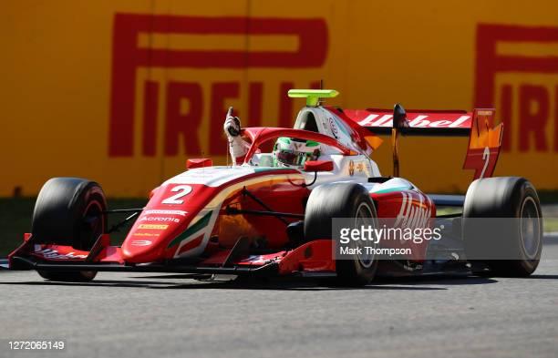 Race winner Frederik Vesti of Denmark and Prema Racing celebrates during the Formula 3 Championship First Race at Mugello Circuit on September 12,...