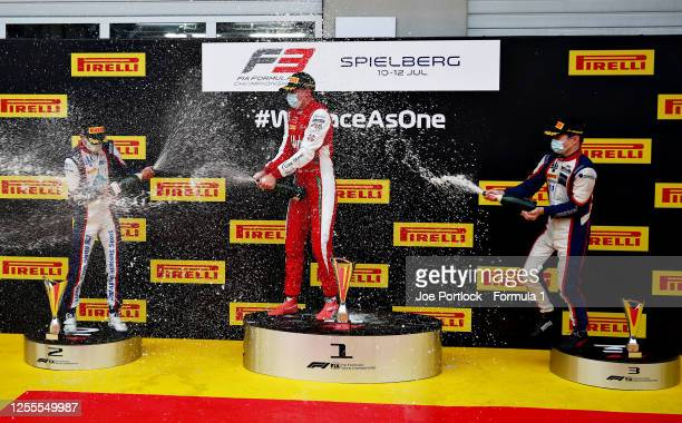 Race winner Frederik Vesti of Denmark and Prema Racing , second placed Lirim Zendeli of Germany and Trident and third placed David Beckmann of...