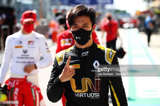 Race winner Guanyu Zhou of China and UNI-Virtuosi Racing celebrates in parc ferme during the Formula 2 Championship Sprint Race at Sochi Autodrom on...