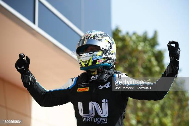 Race winner Guanyu Zhou of China and UNI-Virtuosi Racing celebrates in parc ferme during the Feature Race of Round 1:Sakhir of the Formula 2...