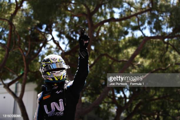 Race winner Guanyu Zhou of China and UNI-Virtuosi Racing celebrates in parc ferme during Sprint Race 1 of Round 2:Monte Carlo of the Formula 2...
