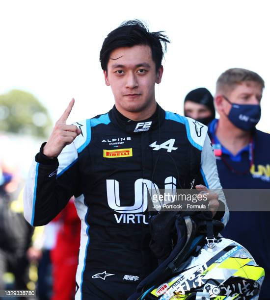 Race winner Guanyu Zhou of China and UNI-Virtuosi Racing celebrates in parc ferme during the Round 4:Silverstone feature race of the Formula 2...