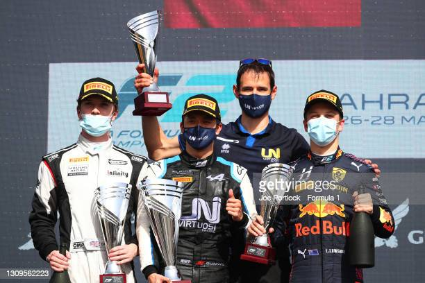 Race winner Guanyu Zhou of China and UNI-Virtuosi Racing, second placed Dan Ticktum of Great Britain and Carlin and third placed Liam Lawson of New...