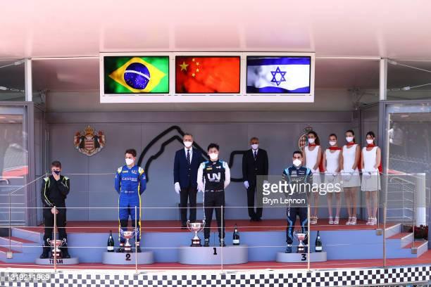 Race winner Guanyu Zhou of China and UNI-Virtuosi Racing , second placed Felipe Drugovich of Brazil and UNI-Virtuosi Racing and third placed Roy...