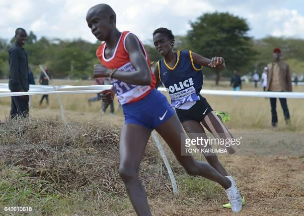 Race winner Irene Cheptai races against compatriot Lilian Kasait during the senior women's race on February 18 2017 in the Kenyan capital Nairobi...
