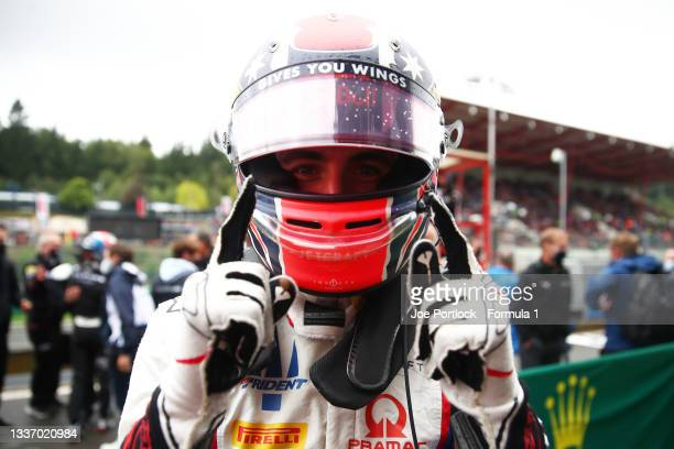 Race winner Jack Doohan of Australia and Trident celebrates in parc ferme during Round 5:Spa-Francorchamps race 3 of the Formula 3 Championship at...