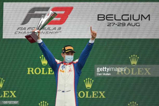 Race winner Jack Doohan of Australia and Trident celebrates on the podium during Round 5:Spa-Francorchamps race 3 of the Formula 3 Championship at...