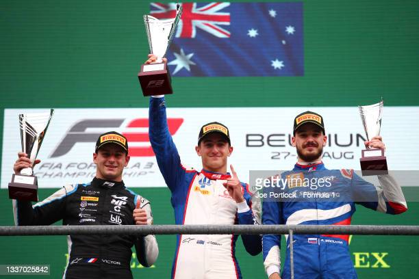 Race winner Jack Doohan of Australia and Trident , second placed Victor Martins of France and MP Motorsport and third placed Aleksandr Smolyar of...