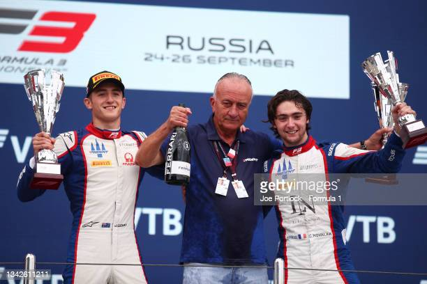 Race winner Jack Doohan of Australia and Trident, third placed Clement Novalak of France and Trident and Maurizio Salvadori, Team Principal of...