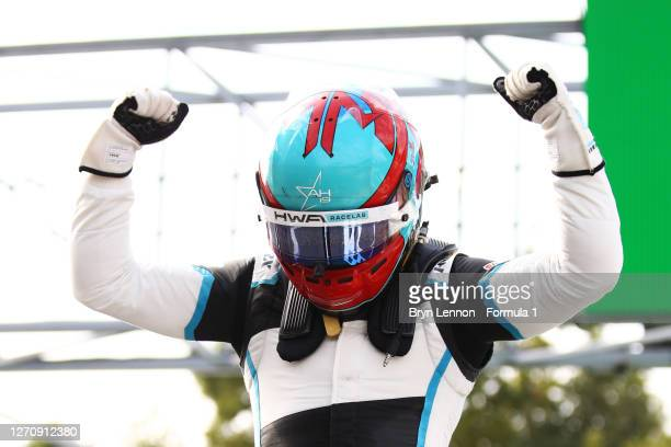 Race winner Jake Hughes of Great Britain and HWA Racelab celebrates in parc ferme during race two of the Formula 3 Championship at Autodromo di Monza...
