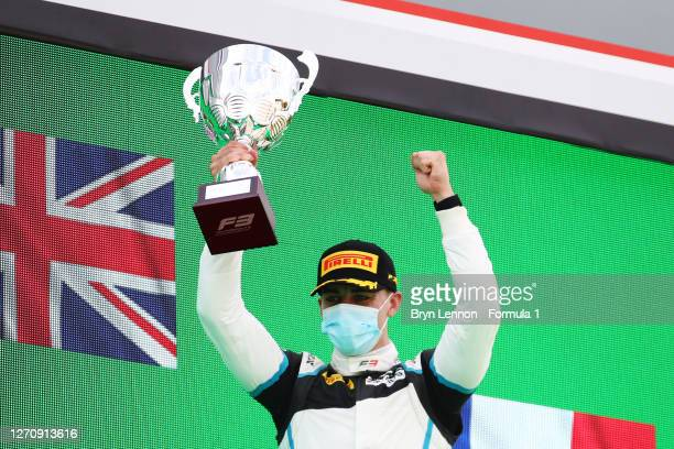 Race winner Jake Hughes of Great Britain and HWA Racelab celebrates on the podium during race two of the Formula 3 Championship at Autodromo di Monza...