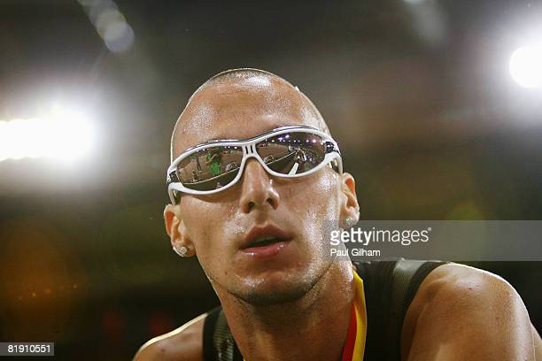 Race winner Jeremy Wariner of the United States of America checks his time after competing in the Mens 400m A Race during the IAAF Golden Gala at the...