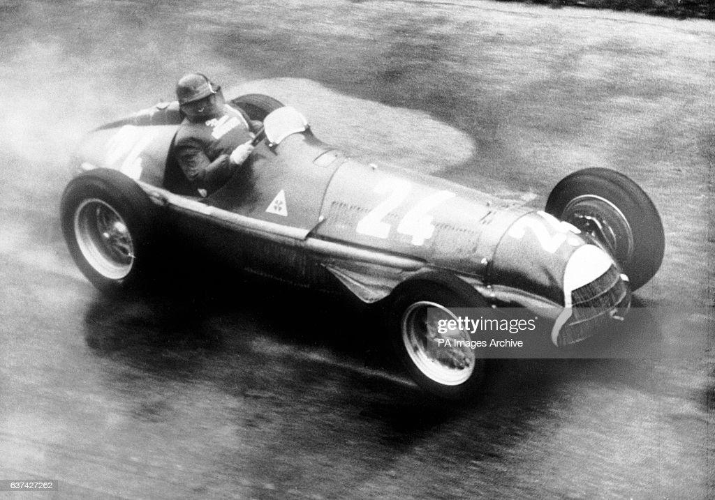Race winner Juan Manuel Fangio at speed