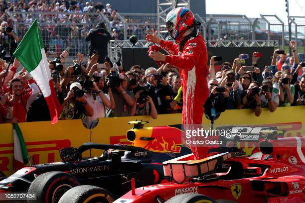 Race winner Kimi Raikkonen of Finland and Ferrari celebrates in parc ferme during the United States Formula One Grand Prix at Circuit of The Americas...