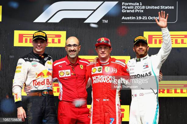 Race winner Kimi Raikkonen of Finland and Ferrari second placed Max Verstappen of Netherlands and Red Bull Racing and third placed Lewis Hamilton of...
