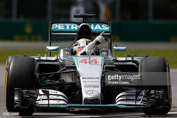 Race winner Lewis Hamilton of Great Britain and Mercedes GP celebrates his victory during the Canadian Formula One Grand Prix at Circuit Gilles...