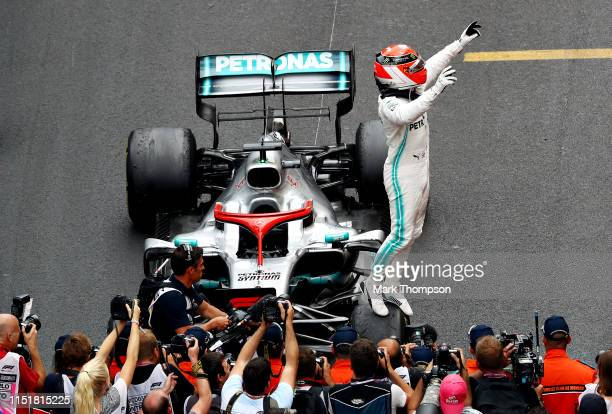 Race winner Lewis Hamilton of Great Britain and Mercedes GP celebrates in parc ferme during the F1 Grand Prix of Monaco at Circuit de Monaco on May...
