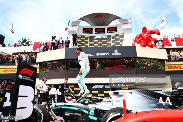 Race winner Lewis Hamilton of Great Britain and Mercedes GP celebrates in parc ferme during the F1 Grand Prix of France at Circuit Paul Ricard on...