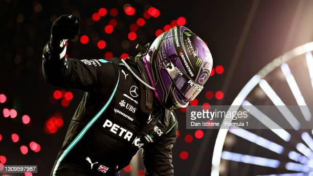 Race winner Lewis Hamilton of Great Britain and Mercedes GP celebrates in parc ferme during the F1 Grand Prix of Bahrain at Bahrain International...