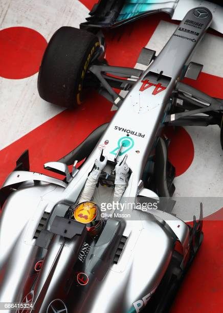 Race winner Lewis Hamilton of Great Britain and Mercedes GP in parc ferme during the Formula One Grand Prix of China at Shanghai International...
