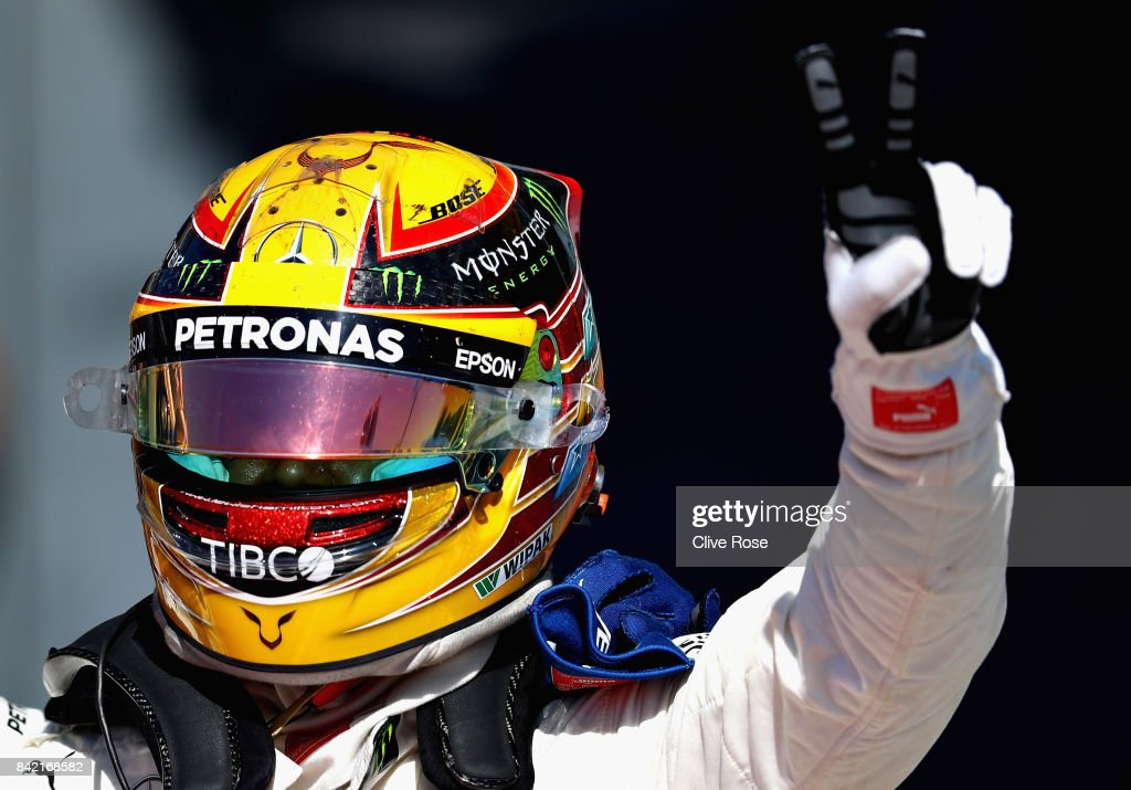 Race winner Lewis Hamilton of Great Britain and Mercedes GP celebrates in parc ferme during the Formula One Grand Prix of Italy at Autodromo di Monza on September 3, 2017 in Monza, Italy.