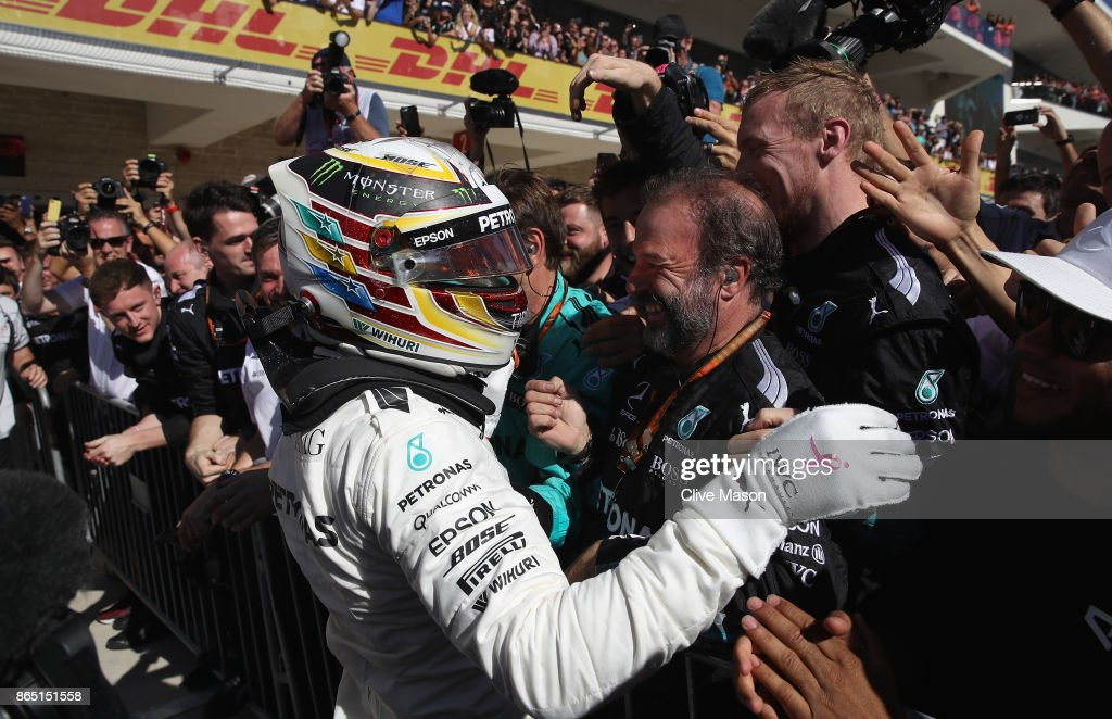 Race winner Lewis Hamilton of Great Britain and Mercedes GP celebrates on the podium during the United States Formula One Grand Prix at Circuit of The Americas on October 22, 2017 in Austin, Texas.