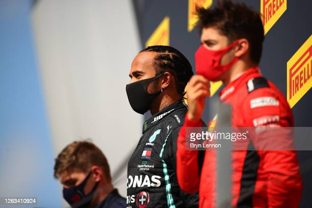 Race winner Lewis Hamilton of Great Britain and Mercedes GP , runner-up Max Verstappen of Netherlands and Red Bull Racing and third-placed Charles...