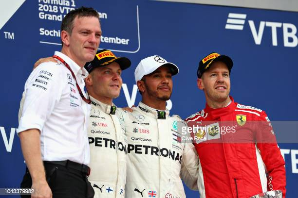 Race winner Lewis Hamilton of Great Britain and Mercedes GP, second placed Valtteri Bottas of Finland and Mercedes GP, third placed Sebastian Vettel...