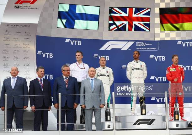 Race winner Lewis Hamilton of Great Britain and Mercedes GP, second place Valtteri Bottas of Finland and Mercedes GP, third placed Sebastian Vettel...