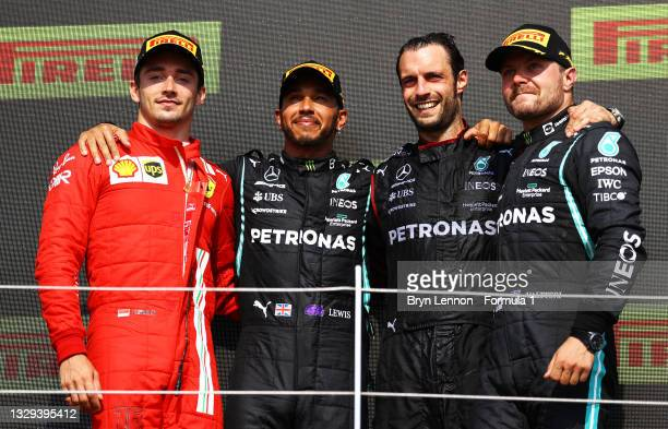 Race winner Lewis Hamilton of Great Britain and Mercedes GP, second placed Charles Leclerc of Monaco and Ferrari and third placed Valtteri Bottas of...