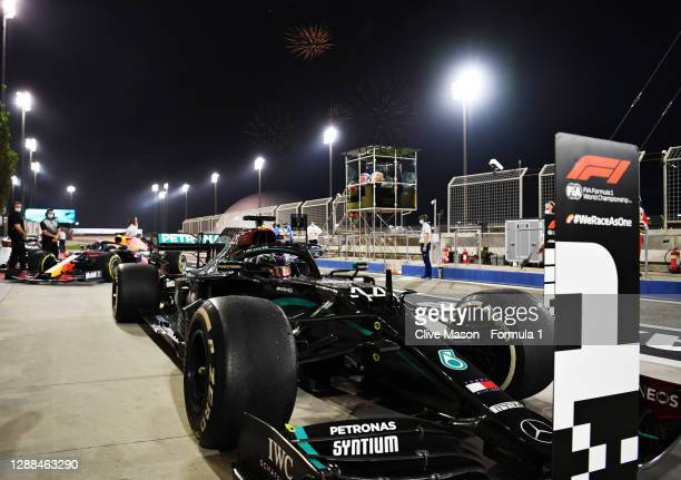 Race winner Lewis Hamilton of Great Britain and Mercedes GP stops in parc ferme during the F1 Grand Prix of Bahrain at Bahrain International Circuit...