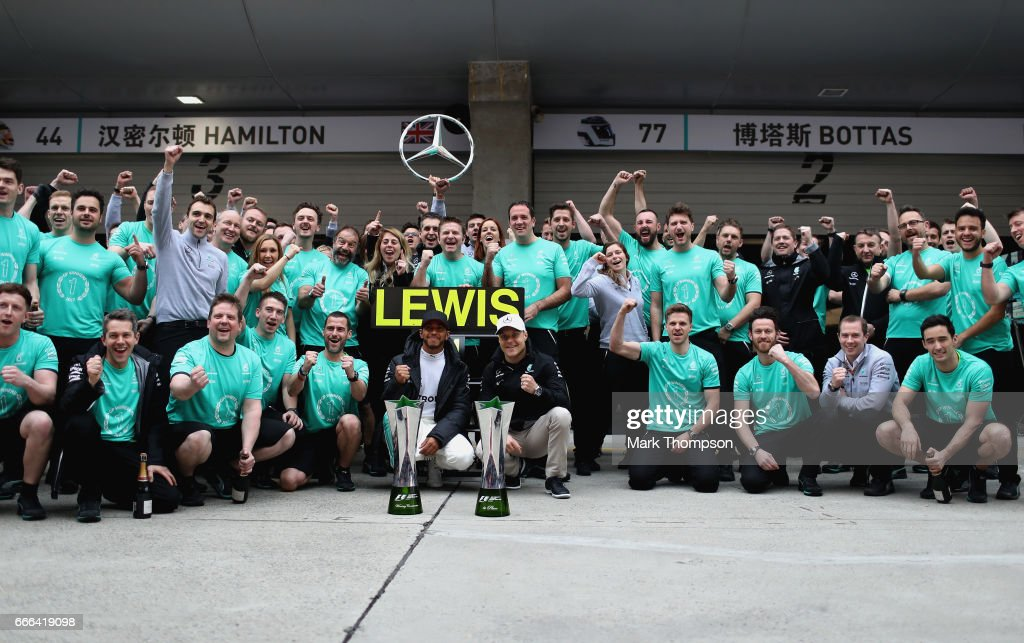 Race winner Lewis Hamilton of Great Britain and Mercedes GP celebrates with his team during the Formula One Grand Prix of China at Shanghai International Circuit on April 9, 2017 in Shanghai, China.