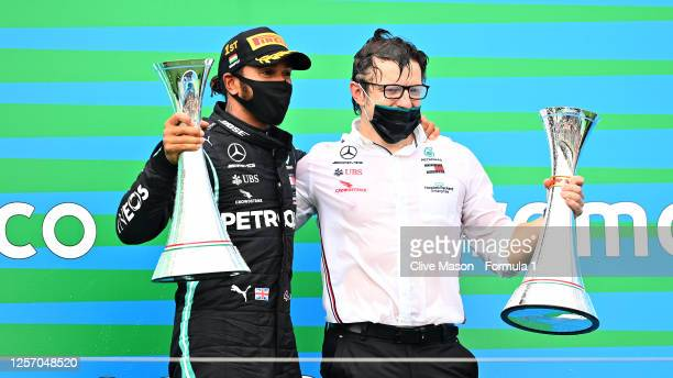 Race winner Lewis Hamilton of Great Britain and Mercedes GP celebrates with race engineer Peter Bonnington after the Formula One Grand Prix of...