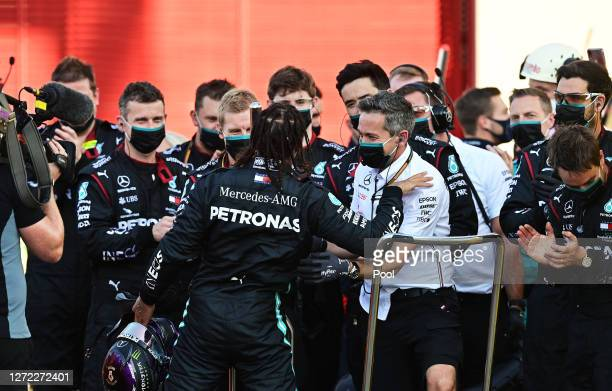 Race winner Lewis Hamilton of Great Britain and Mercedes GP celebrates with team members in parc ferme during the F1 Grand Prix of Tuscany at Mugello...