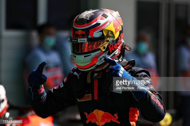 Race winner Liam Lawson of New Zealand and Hitech Grand Prix celebrates in parc ferme during the sprint race for the Formula 3 Championship at Red...