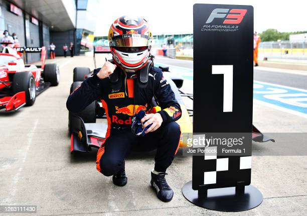 Race winner Liam Lawson of New Zealand and Hitech Grand Prix celebrates in parc ferme during race one of the Formula 3 Championship at Silverstone on...