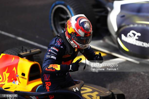 Race winner Liam Lawson of New Zealand and Hitech Grand Prix celebrates in parc ferme during Sprint Race 2 of Round 2:Monte Carlo of the Formula 2...