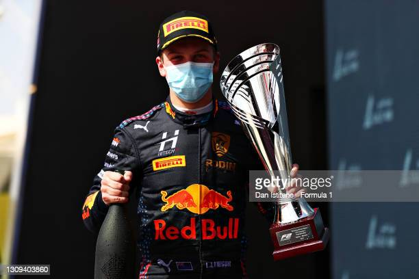 Race winner Liam Lawson of New Zealand and Hitech Grand Prix celebrates on the podium during Sprint Race 1 of Round 1:Sakhir of the Formula 2...