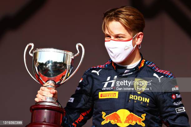 Race winner Liam Lawson of New Zealand and Hitech Grand Prix celebrates on the podium during Sprint Race 2 of Round 2:Monte Carlo of the Formula 2...