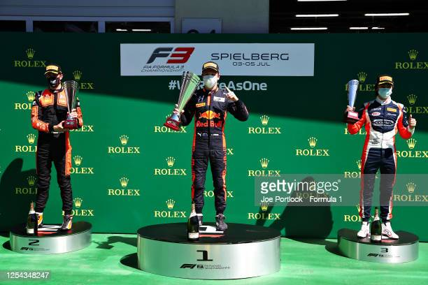 Race winner Liam Lawson of New Zealand and Hitech Grand Prix, second placed Richard Verschoor of the Netherlands and MP Motorsport and third placed...